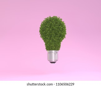 Creative layout made of plant Lightbulb floating on pink pastel background. minimal idea nature. An idea creative to artwork design or World environment day concept