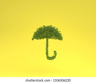 Creative layout made of plant umbrella floating on yellow pastel background. minimal idea nature. An idea creative to artwork design or World environment day concept