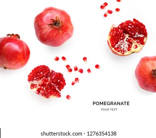 Creative layout made of pomegranate. Flat lay. Food concept. Macro concept.