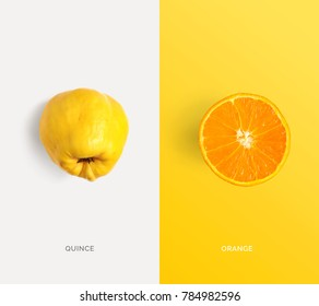 Creative layout made of quince and orange. Flat lay. Food concept. Macro  concept.