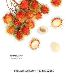 Creative layout made of rambutan on white background. Flat lay. Food concept.