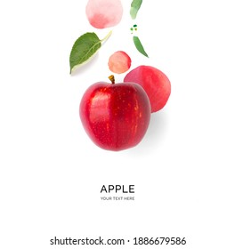 Creative layout made of red apple on the watercolor background. Flat lay. Food concept.	 - Shutterstock ID 1886679586