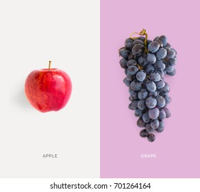 Creative layout made of red apple and grape. Flat lay. Food concept.