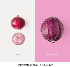 Creative layout made of red cabbage and onion. Flat lay. Food concept.