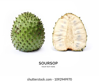 Creative layout made of soursop on the white background. Flat lay. Food concept. Macro  concept.