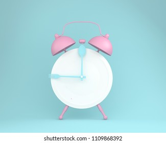 Creative layout made of spoon and fork on round plate in a form of pink alarm clock on blue pastel background. minimal idea business concept.