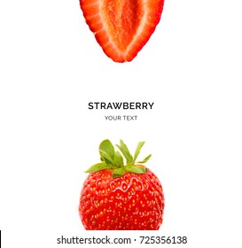 Creative layout made of strawberry on the white background. Flat lay. Food concept. Macro  concept.