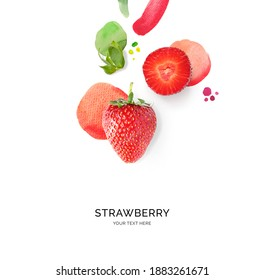 Creative layout made of strawberry with watercolor spots on the white background. Flat lay. Food concept. - Shutterstock ID 1883261671