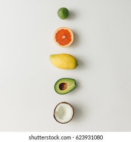 Creative layout made of summer tropical fruits. Flat lay. Food concept.