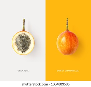 Creative layout made of sweet granadilla fruit. Tropical flat lay. Food concept.