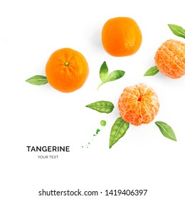 Creative layout made of tangerine on the watercolor background. Flat lay. Food concept.