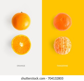 Creative layout made of tangerine and orange. Flat lay. Food concept.