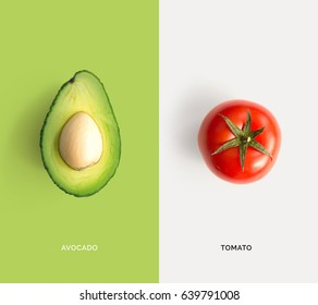 Creative layout made of tomato and avocado. Flat lay. Food concept.