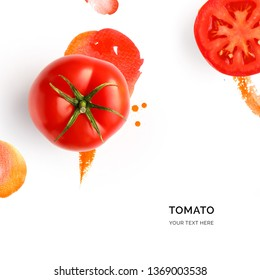 Creative layout made of tomato on the watercolor background. Flat lay. Food concept.