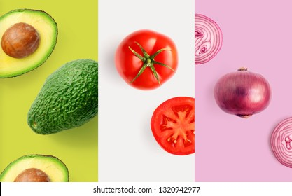 Creative layout made of tomato, onion and avocado on the white background. Flat lay. Food macro concept.