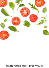 Creative layout made of tomato slices and lettuce salad leaves. Flat lay, top view. Food concept. Vegetables isolated on white background. Food ingredients pattern with copy space. - Shutterstock ID 1916740946