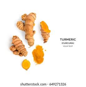 Creative layout made of turmeric (curcuma). Flat lay. Food concept.