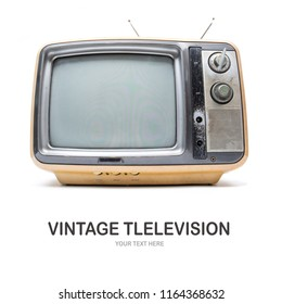 Creative layout made of Vintage television isolate on white background.
