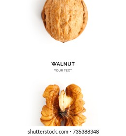 Creative layout made of walnut. Flat lay. Food concept.