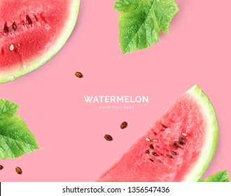 Creative layout made of watermelon. Flat lay. Food concept. Watermelon on pink background.