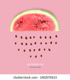 Creative layout made of watermelon. Flat lay. Food concept. Watermelon on the pink background.