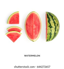 Creative layout made of watermelon. Flat lay. Food concept. Watermelon on white background.