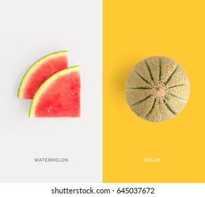 Creative layout made of watermelon and melon. Flat lay. Food concept.