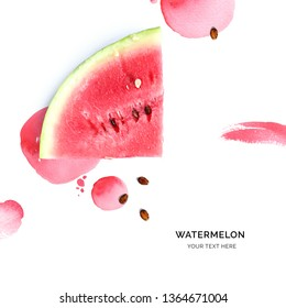 Creative layout made of watermelon on the watercolor background. Flat lay. Food concept.