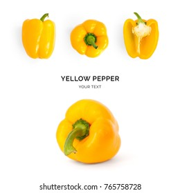 Creative layout made of yellow pepper. Flat lay. Food concept. Pepper on the white background.