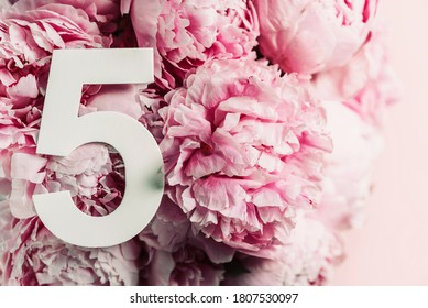 Creative layout. Pink peony flowers and digit five 5. Birthday greeting card. Anniversary concept. Top view. Copy space. Stylish white numeral over flowers background. Numerical digit