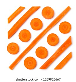 Creative layout of sliced carrot. Vegetable pattern. Food background isolated on white. Flat lay, top view.