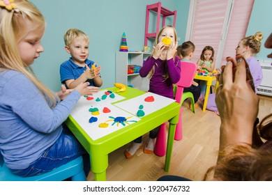 creative lesson with use plasticine for preschoolers
