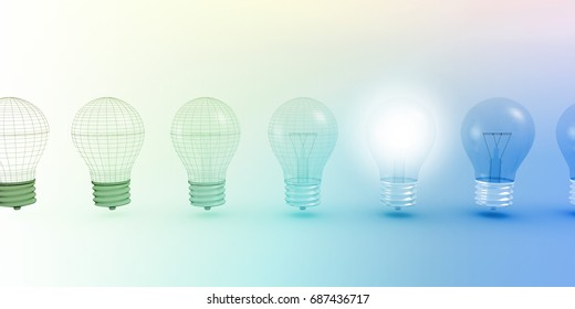 Creative Light Bulb Idea Abstract Infographic Concept 3D Illustration Render
