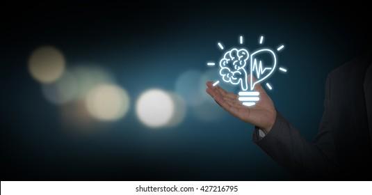 Creative light bulb symbol with heart shape, Idea concept, businessman with ideas and creativity icon.