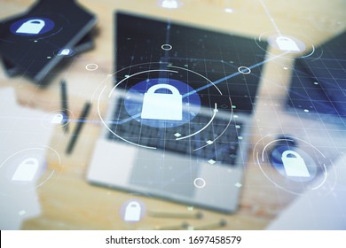 Creative light lock illustration with microcircuit on modern computer background, cyber security concept. Multiexposure