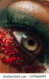 Creative macro dragon woman eye. Green and red make-up with glitters. Soft focus artistic lens close-up.
