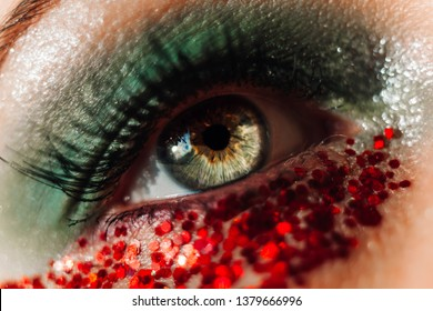 Creative macro eye. Beautiful green and red make-up with glitters. Soft focus artistic lens close-up. Dragon concept.