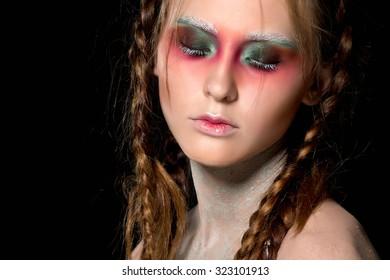 Creative make up. Halloween. Beautiful Woman's Face