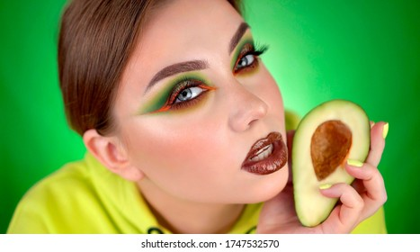 creative makeup avocado beautiful girl