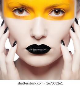 creative make-up of fashion lady, close-up shot