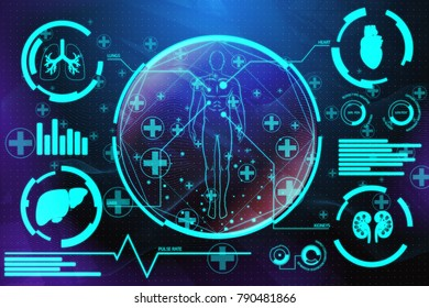 Creative medical interface background. Medicine, future innovations and healthcare concept. 3D Rendering