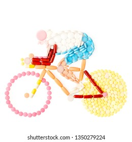 Creative medicine health doping sport concept photo of cyclist riding bicycle made of drugs and pills pharmacy on white background