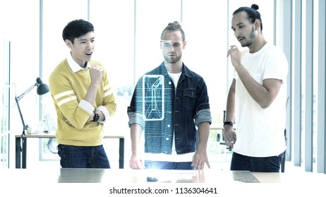 Creative meeting team using hologram  for new design smartphone in modern office,business technology concept