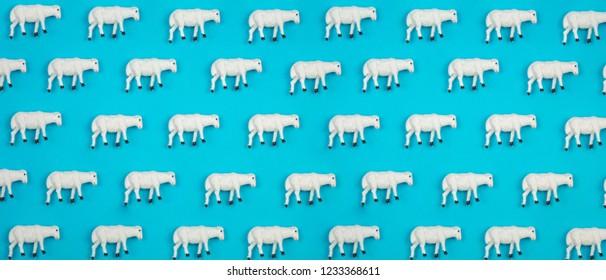 Creative and minimal pattern made of sheep. Blue background. Flat lay top view