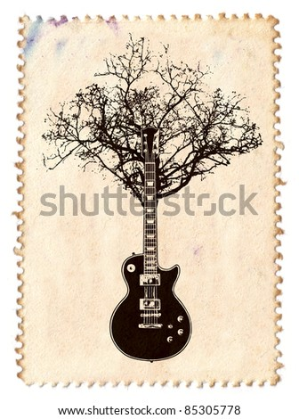 Creative Music Stamp With Guitar And Tree