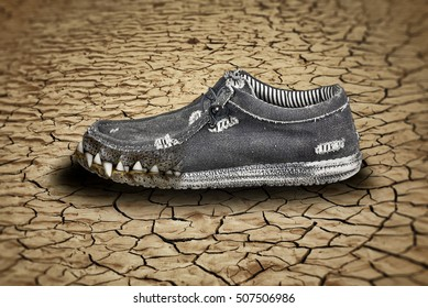 Creative old shoes with crocodile teeth photo manipulation/Crocodile shoes