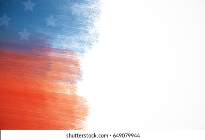 Creative paint-brush stokes. USA flag on white background. Patriotism concept