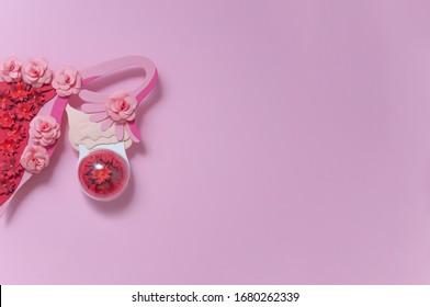 Das kreative Konzept des Endometrioiden Ovarialzystes. Leerzeichen für Text kopieren