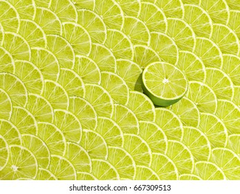 Creative pattern made of Fresh lime. Flat lay copy space. Minimal food concept. 3D illustration.