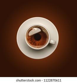 Creative photo manipulation with coffee and eye